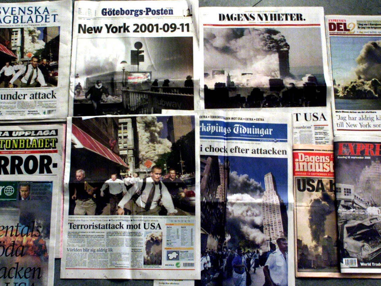 Front pages of the Swedish national newspapers Wednesday, Sept. 12, 2001 covering the terrorist attacks in New York and Washington DC. (AP Photo/Torbjorn F Gustafsson)