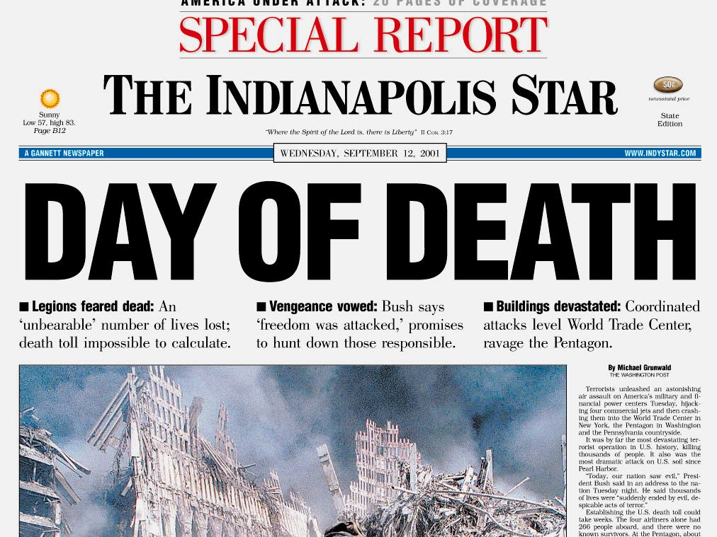 This is the front page of the Indianapolis Star Extra Edition, published Tuesday, Sept. 11, 2001, showing a photograph of the attack on the World Trade Center in New York. (AP Photo/The Indianapolis Star)