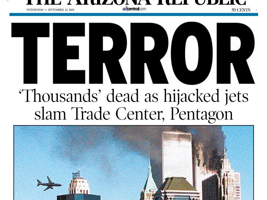 "This is the front page of a ""special edition"" of The Arizona Republic in Phoenix , from early Wednesday, Sept. 12, 2001. The photographs show the attacks on the World Trade Center in New York. (AP Photo/The Arizona Republic)"
