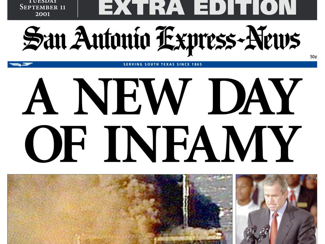 This is the front page of the San Antonio Express-News' Extra Edition, published Tuesday, Sept. 11, 2001, showing a photograph of the attack on the World Trade Center in New York.  (AP Photo/San Antonio Express-News)