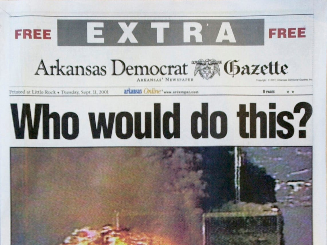 The Arkansas Democrat-Gazette's extra edition, published Tuesday, Sept. 11, 2001, to report on the terrorist attacks on New York and Washington, is shown. (AP Photo/Arkansas Democrat-Gazette)