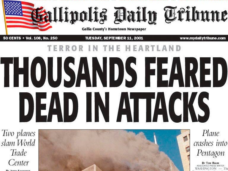 Gallipolis (Ohio) Daily Tribune's special edition front published at 8 p.m. Tuesday, Sept. 11, 2001. (AP/Gallipolis Daily Tribune)