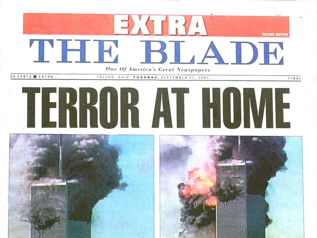This is the front page of the second of two extra editions of The Blade, Toledo,  printed after the attacks on the World Trade Center in New York City and  the Pentagon. (AP Photo/The Toledo Blade, Darrel Ellis)