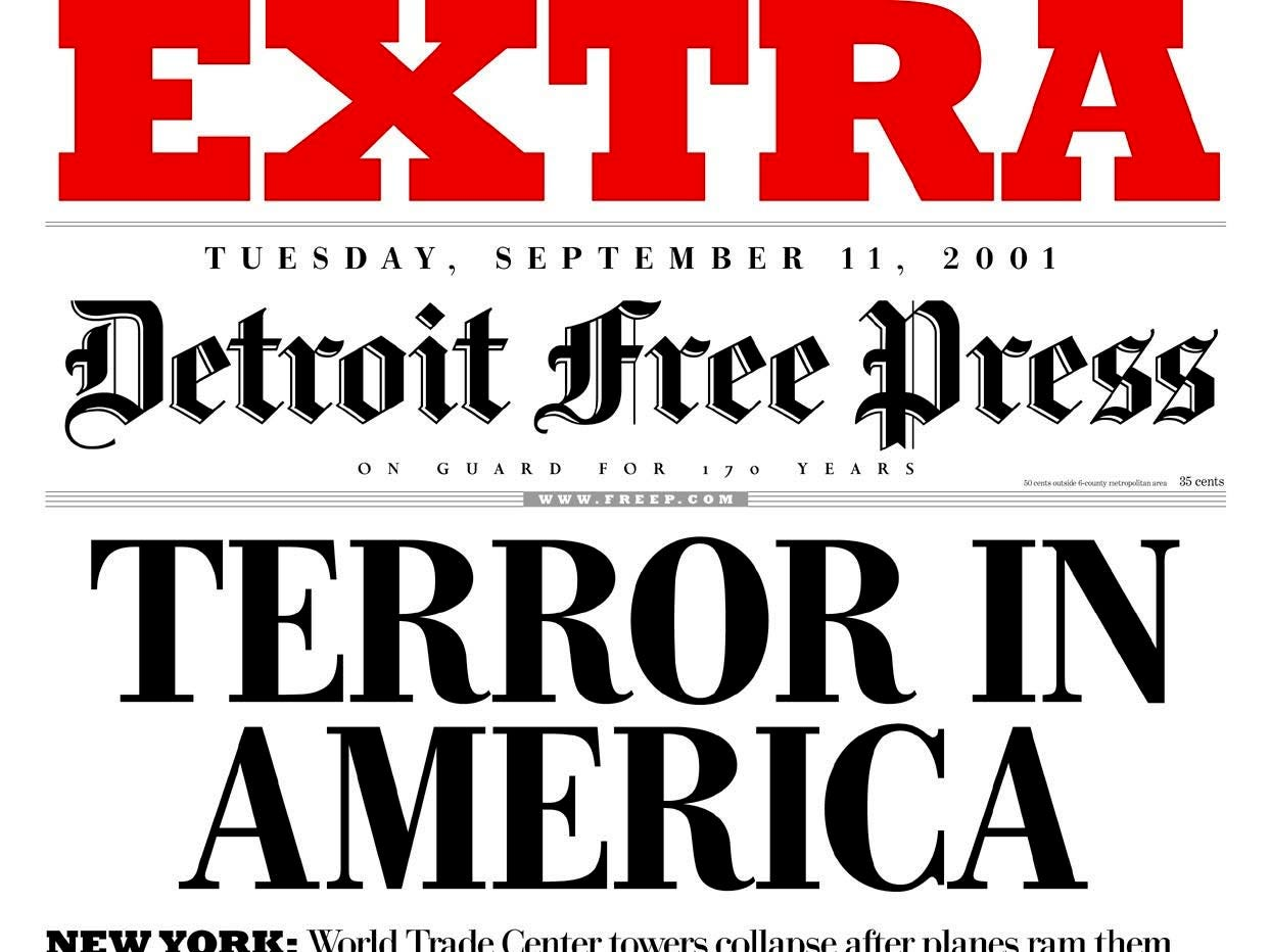 The Detroit Free Press newspapers extra edition front page  Tuesday, Sept. 11, 2001, shows the World Trade Center buildings that were attacked in New York City on Tuesday. (AP Photo/Detroit Free Press)