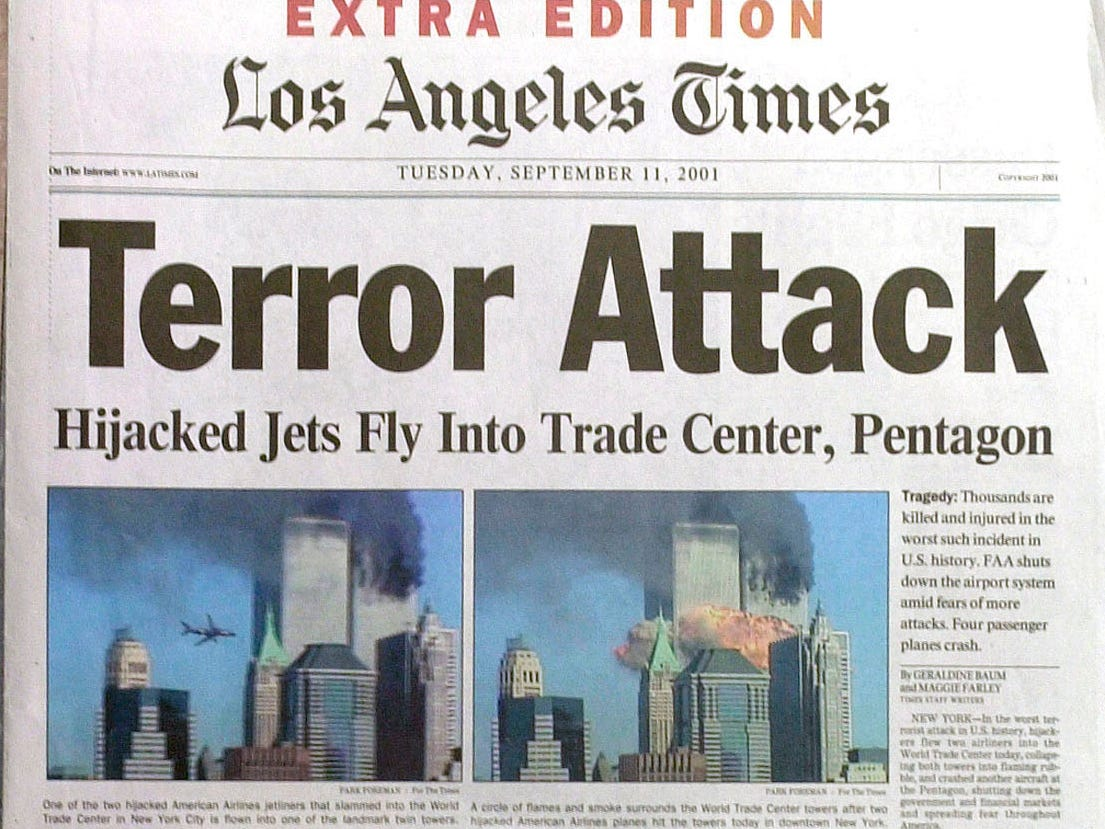 This is the front page of the extra edition of the Los Angeles Times on Tuesday, Sept. 11, 2001.  From big cities such as Los Angeles to smaller markets such as Grass Valley, papers across California and Nevada covered the terrorist attacks on the East Coast in extra editions Tuesday. (AP Photo/Reed Saxon)