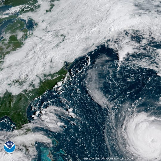 A satellite image of Hurricane Florence as it approaches the East Coast.