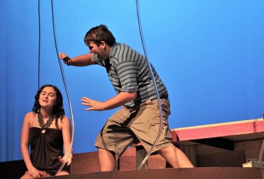 Jimmy Livingston, the Bubble Boy (Price Payne) reacts to a woozy Chloe (Kira Tanner) from his side his bubble in this rehearsal scene from Abilene High's fall musical that will be performed three times this weekend.