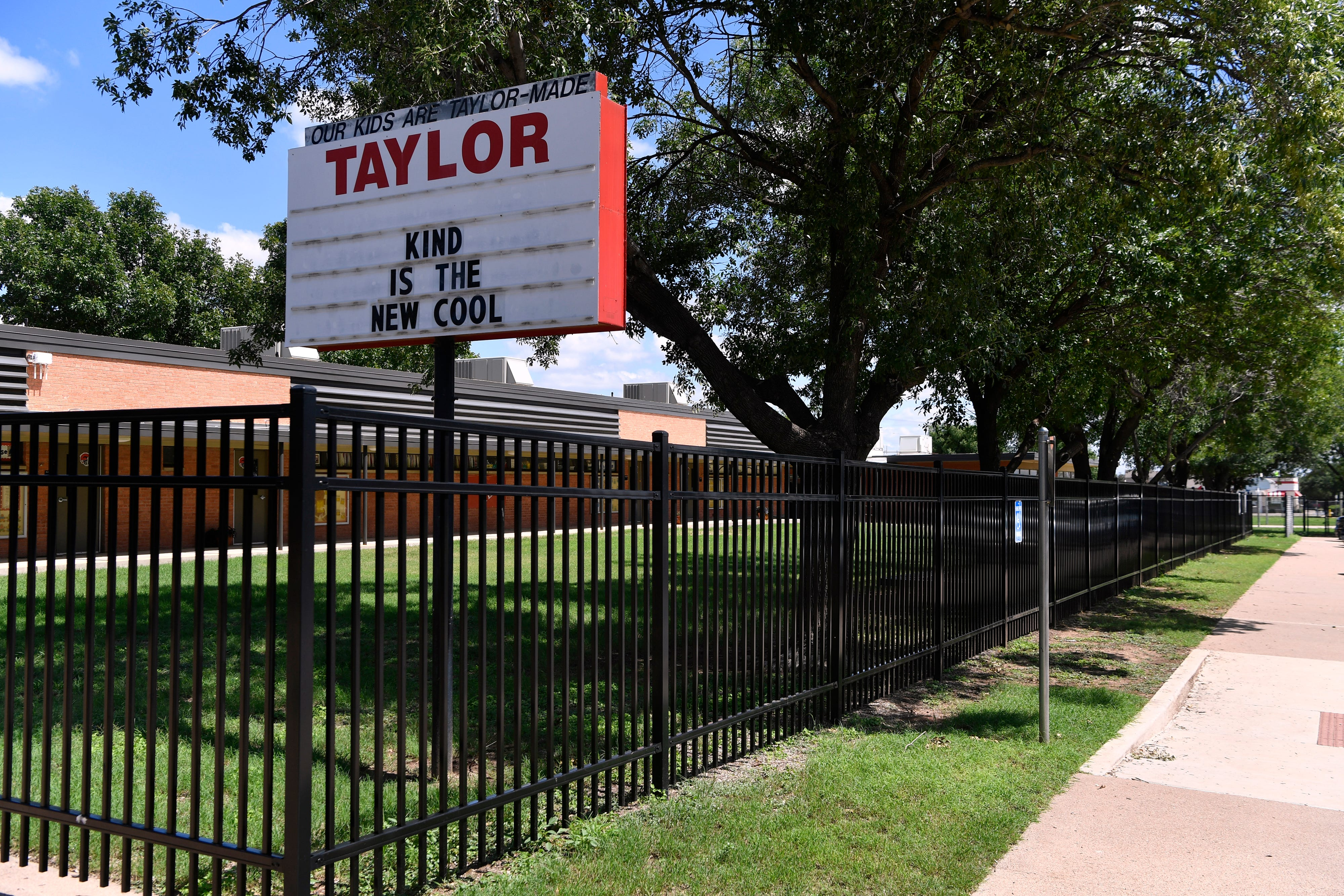 The front of Taylor Elementary School Tuesday.