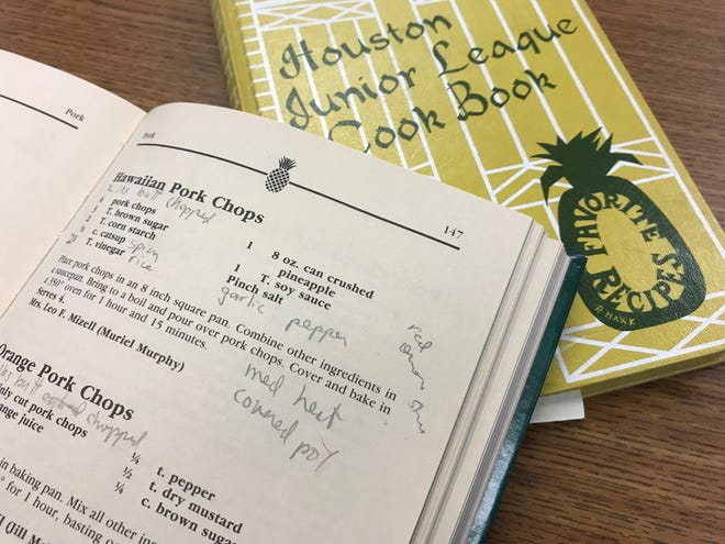 "A pineapple symbol is on every page of ""Hospitality: An East Texas Cookbook"" and on the cover of ""Houston Junior League Cook Book."""