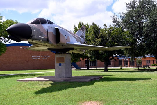 The front of Dyess Elementary School Tuesday and it's well-known static display of an F4 Phantom II fighter jet.