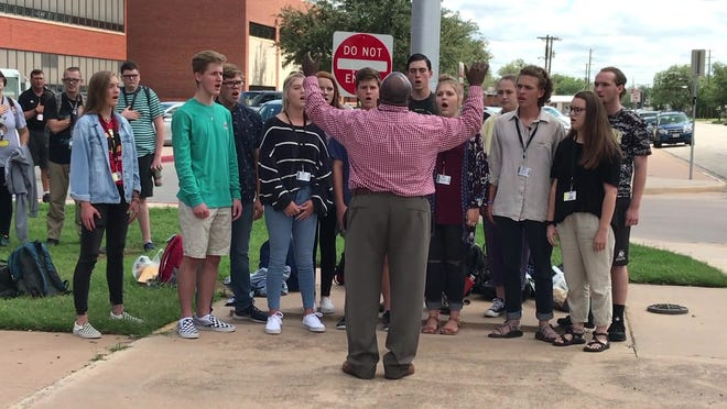 """The Abilene High Pure Gold choir sang """"The Star-Spangled Banner"""" at noon Tuesday as part of a national program."""