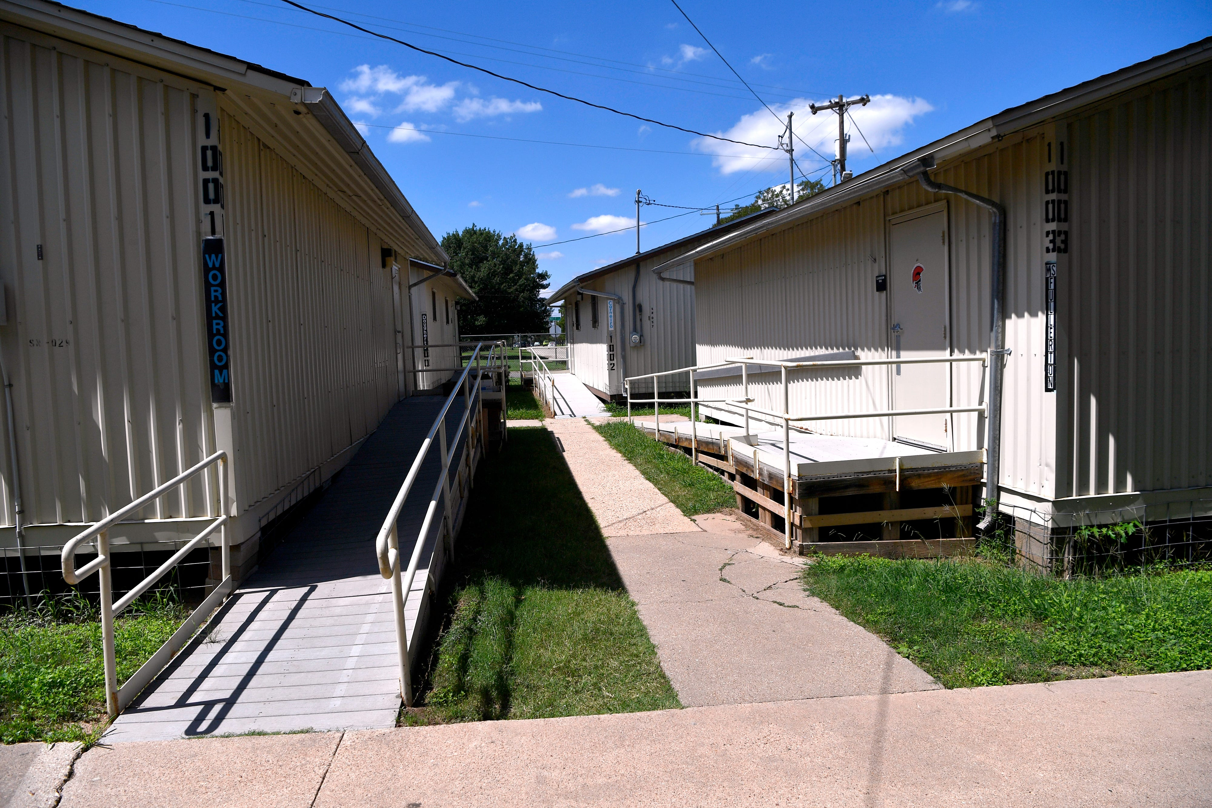 Taylor Elementary School has eleven portable buildings, four of which are pictured here.