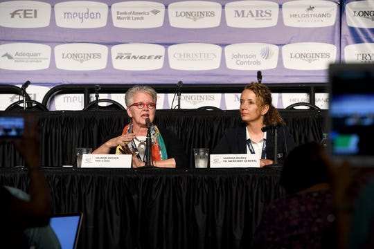 Sharon Decker, Tryon International Equestrian Center Chief Operating Operator, and Sabrina Ibanez, FEI Secretary general, give a media briefing about the weather in relation to Hurricane Florence before the start of the opening ceremonies of the FEI World Equestrian Games at the Tryon International Equestrian Center on Sept. 11, 2018.