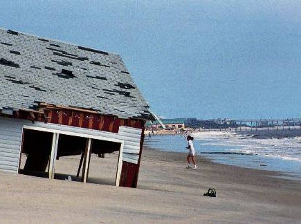This beach house rests in the sand of Oak Island, N.C., on Friday Oct. 8, 1999, where at 3 a.m. on Sept. 16, 1999, it was ground zero as Hurricane Floyd hit the United States mainland.