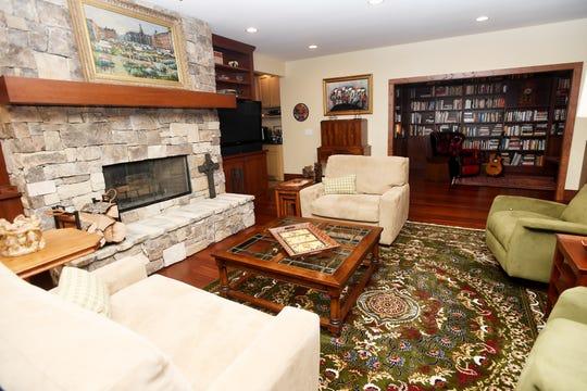 A living room on the basement floor of Jim and Sabrina Watson's home.