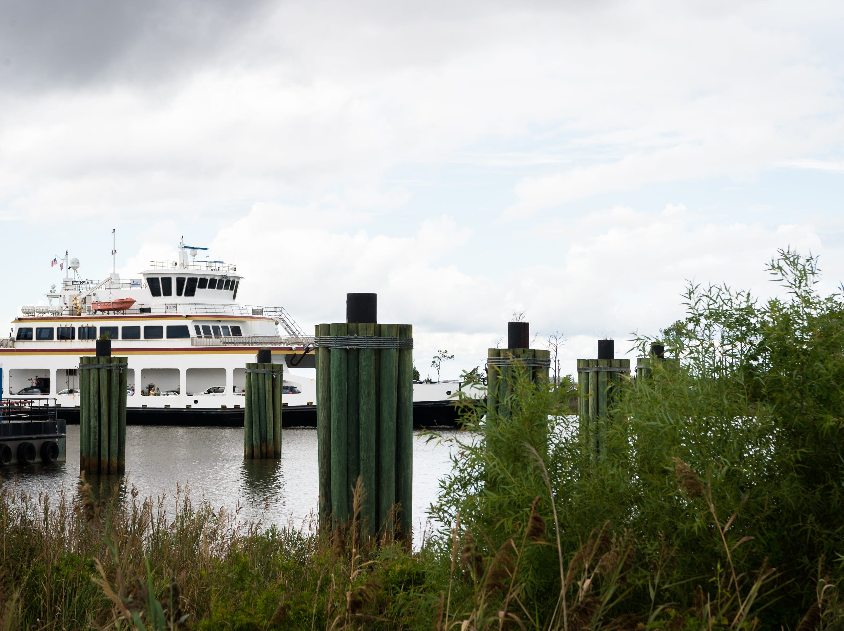 The Swan Quarter ferry arrives at the terminal carrying a full load of passengers from Ocracoke Island Sept. 11, 2018 after the mandatory evacuation order in preparation for hurricane Florence.