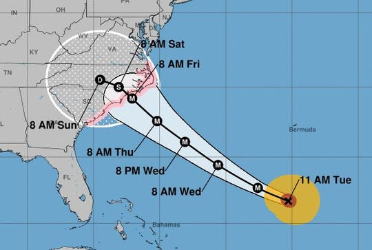 Here is the National Weather Service projection of Hurricane Florence's path issued at 11 a.m. Tuesday.
