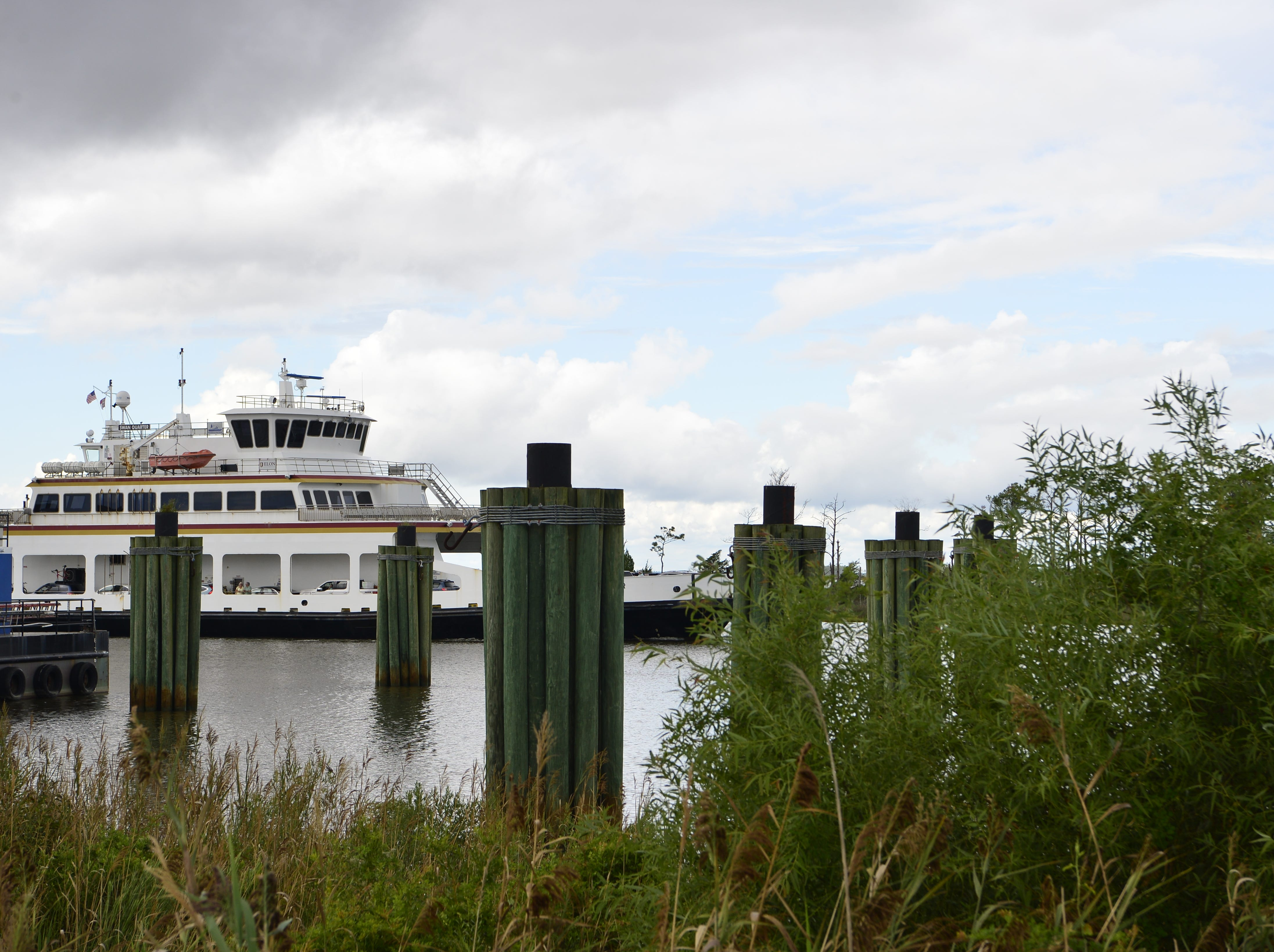The Swan Quarter ferry arrives at the terminal carrying a full load of passengers from Ocracoke Island after the mandatory evacuation order in preparation for hurricane Florence.