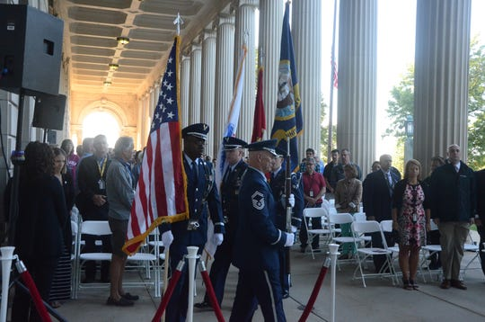 The honor guard from the Battle Creek Air National Guard Base begins the 9/11 ceremony Tuesday, Sept. 11, 2018.