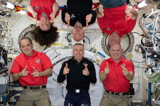 On Aug. 25, 2018, the Expedition 56 crew members posed for a fun portrait in the International Space Station's Kibo laboratory module. Top row, from left, are Flight Engineers Serena Auñón-Chancellor, Alexander Gerst and Sergey Prokopyev. Bottom row, from left, are Flight Engineer Ricky Arnold, Commander Drew Feustel and Oleg Artemyev. Auñon-Chancellor, Arnold and Feustel represent NASA while Artemyev and Prokopyev represent Roscosmos. Gerst, of the European Space Agency, will become commander of Expedition 57 when Feustel, Arnold and Artemyev depart the space station in October.