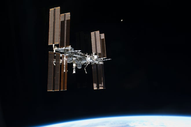 This picture of the International Space Station was photographed from the space shuttle Atlantis as the orbiting complex and the shuttle performed their relative separation in the early hours of July 19, 2011.