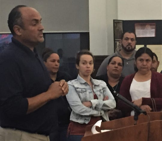 Luis Quinones of North Camden speaks at Monday night's meeting of the city's zoning board.