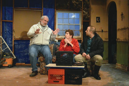 Russ Walsh, from left, Susan Dewey and Alfie Mannino take the stage in a scene from 'By the Water' at South Camden Theatre Company.