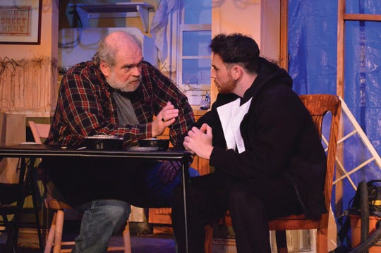 Russ Walsh and Danny Donnelly share a scene from 'By the Water' at South Camden Theatre Company. The play explores what happens to a Staten Island neighborhood in the wake of  Hurricane Sandy.