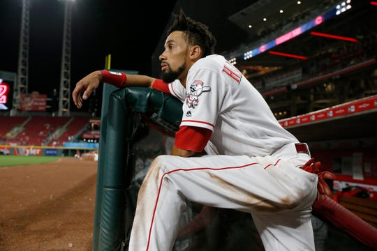 Former Cincinnati Reds center fielder Billy Hamilton watches from the top of the stairs in the top of the eighth inning against the Los Angeles Dodgers at Great American Ball Park on Sept. 10, 2018.