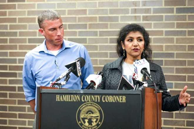 Hamilton County Coroner, Dr. Lakshmi Sammarco and Death Investigator John Hatfield discuss details of the Fifth Third shooting at a press briefing at the Hamilton County Coroner's office on Tuesday Sept. 11, 2018.