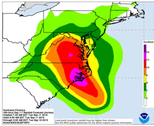 The earliest reasonable time that tropical-storm-force winds could arrive in the United States from Hurricane Florence is late Wednesday, and the most likely time is Thursday morning.