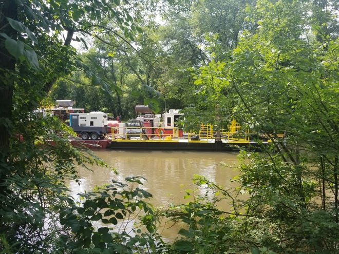 The three barges of Brennan Marine, the Palm Beach, Fox River and Ashtabula will be dredging the canal for the next three years which will be paid for by the New Jersey Water Supply Authority.
