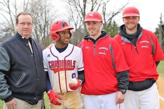 Left to right: Athletics Director John Quinn, Waldy Arias (class of 2018), Coach Sean Radu and Assistant coach Jared Pasko