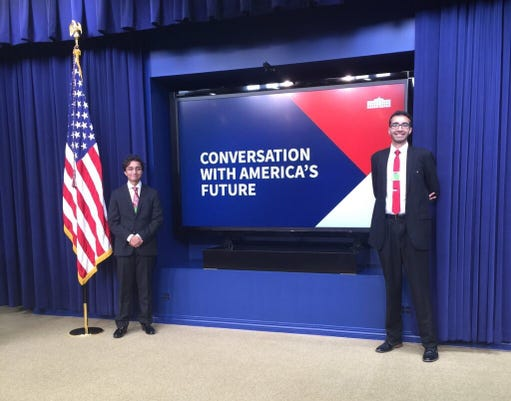Des Moines area brothers Fez (L) and Faraaz Zafar were guests in the Trump White House June 27 at a youth engagement event hosted by the administration. Now Fez, 16, wants to engage youth in the Iowa governor's race by letting them ask the questions at a candidates' debate.