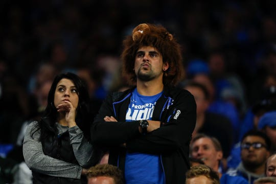 Detroit Lions fans show their disappointment during the second half against the New York Jets at Ford Field in Detroit, Monday, Sept. 10, 2018.