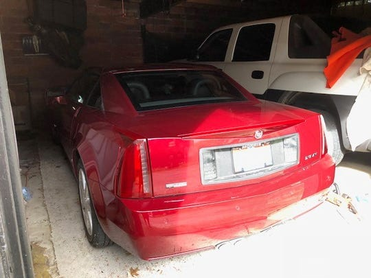 The garage where Peter Pyros was trapped for 14 hours in his Cadillac XLR.