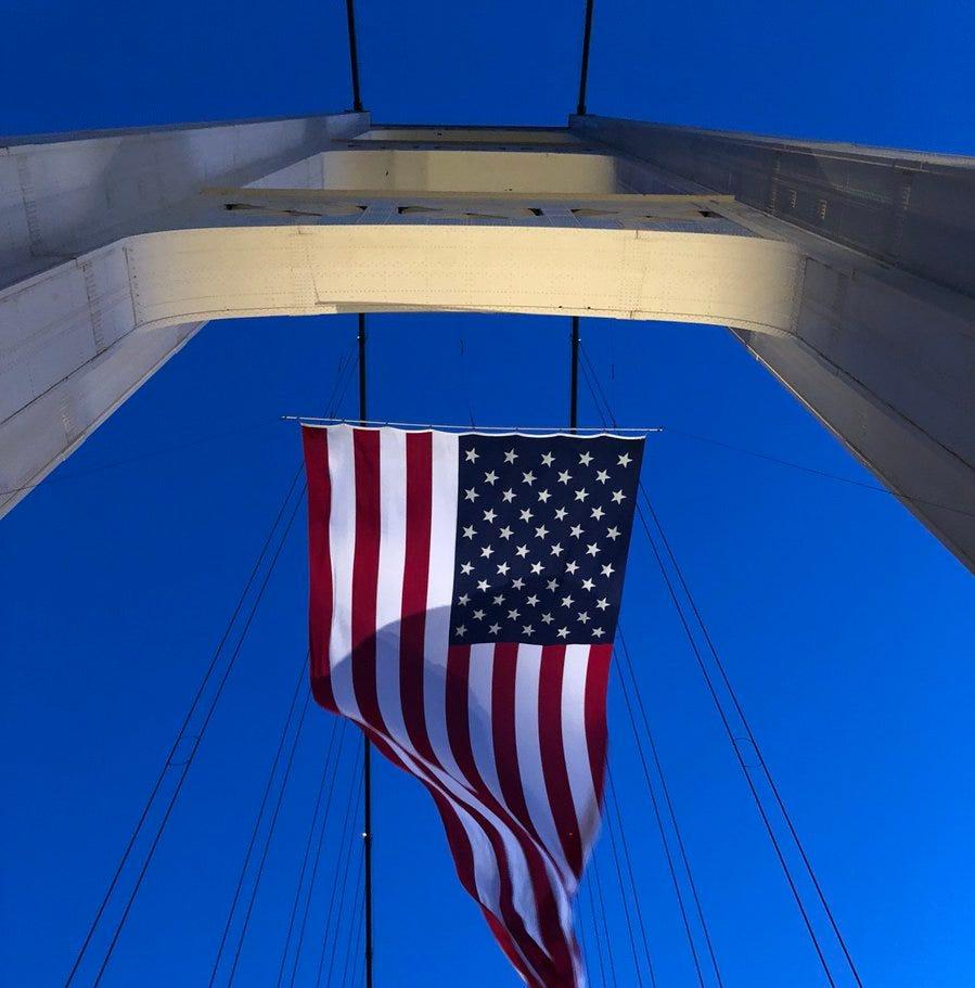 Mackinac Bridge flies American flag on 9/11 anniversary