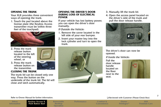 The owner's manual describes how to unlock a 2006 Cadillac XLR during loss of electrical power.