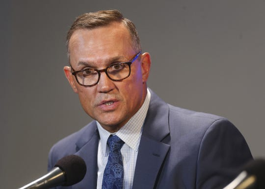 Press conference announcing Steve Yzerman is stepping down as Tampa Bay Lightning general manager and assistant general manager Julien BriseBois is named the new general manager on Tuesday, Sept. 11, 2018 at Amalie Arena in Tampa, Fla.