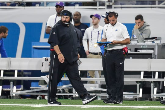 Detroit Lions head coach Matt Patricia looks at the field as he watches action during the first half against the New York Jets game at Ford Field in Detroit, Monday, Sept. 10, 2018.