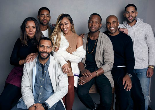 "Writer Samantha Tanner, from left, Jay Ellis, Omari Hardwick, Meagan Good, writer Qasim Basir, producer Datari Turner and Dijon Talton pose for a portrait to promote the film, ""A Boy. A Girl. A Dream: Love on Election Night"", during the Sundance Film Festival on in January 2018 in Park City, Utah."