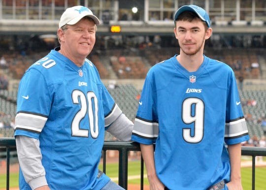 Chris Moore, 61, and his son Carson Moore, 23, started Monday afternoon at Comerica Park before heading over to Ford Field for the Lions' season-opening game against the New York Jets on Sept. 10, 2018.