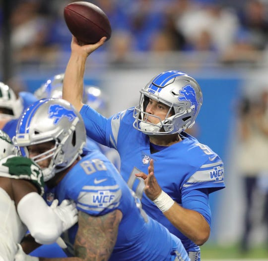 Detroit Lions quarterback Matthew Stafford passes against the New York Jets during the first half Monday, Sept. 10, 2018, at Ford Field in Detroit.