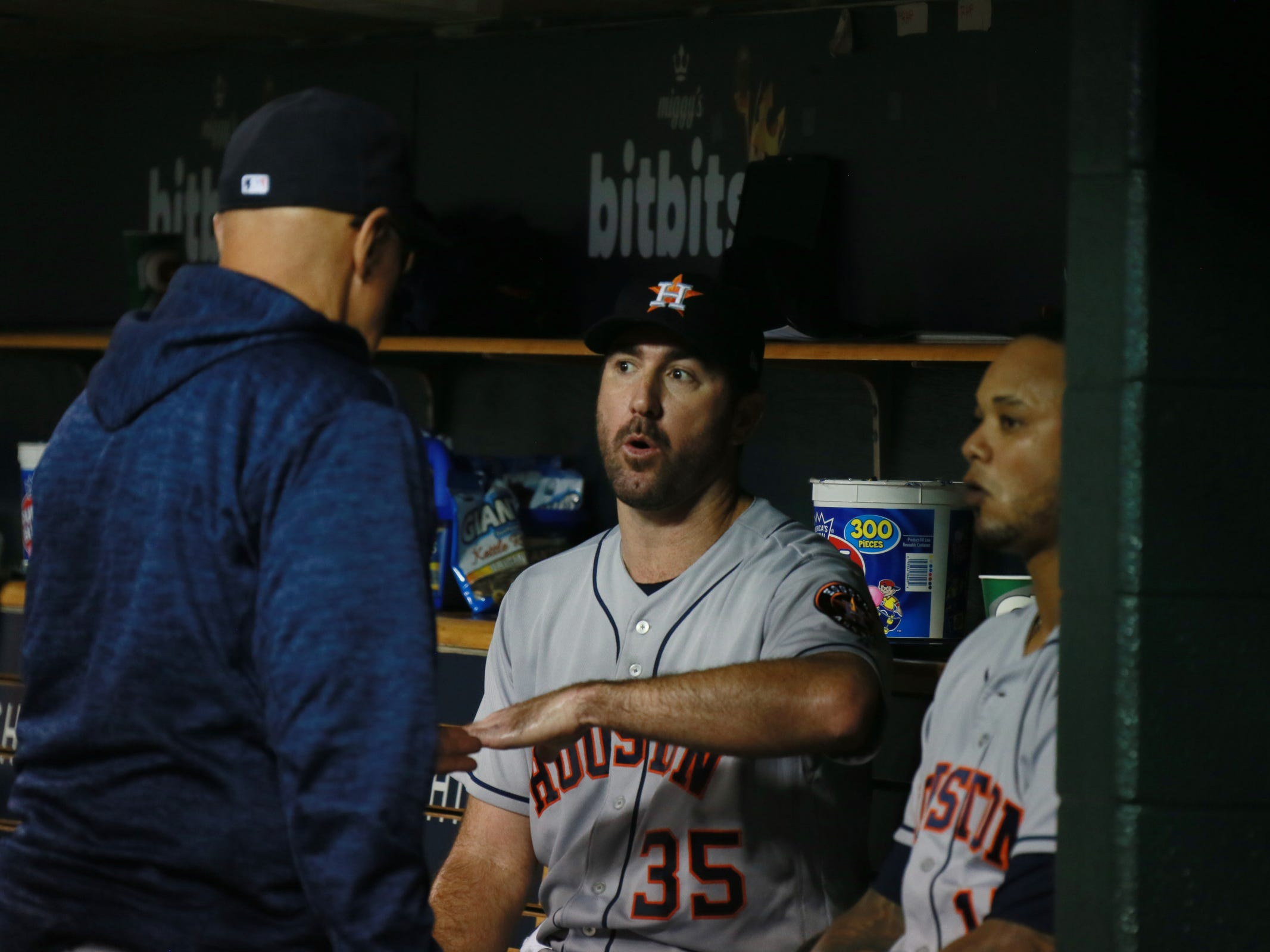 Astros pitcher Justin Verlander ) talks in the dugout after pitching seven innings as the Detroit Tigers take on the Houston Astros on Monday, Sept. 10, 2018, at Comerica Park.