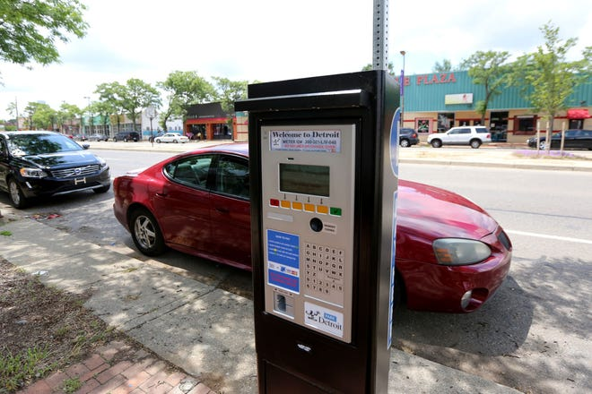 A parking meters on Livernois near 7 Mile in northwest Detroit.