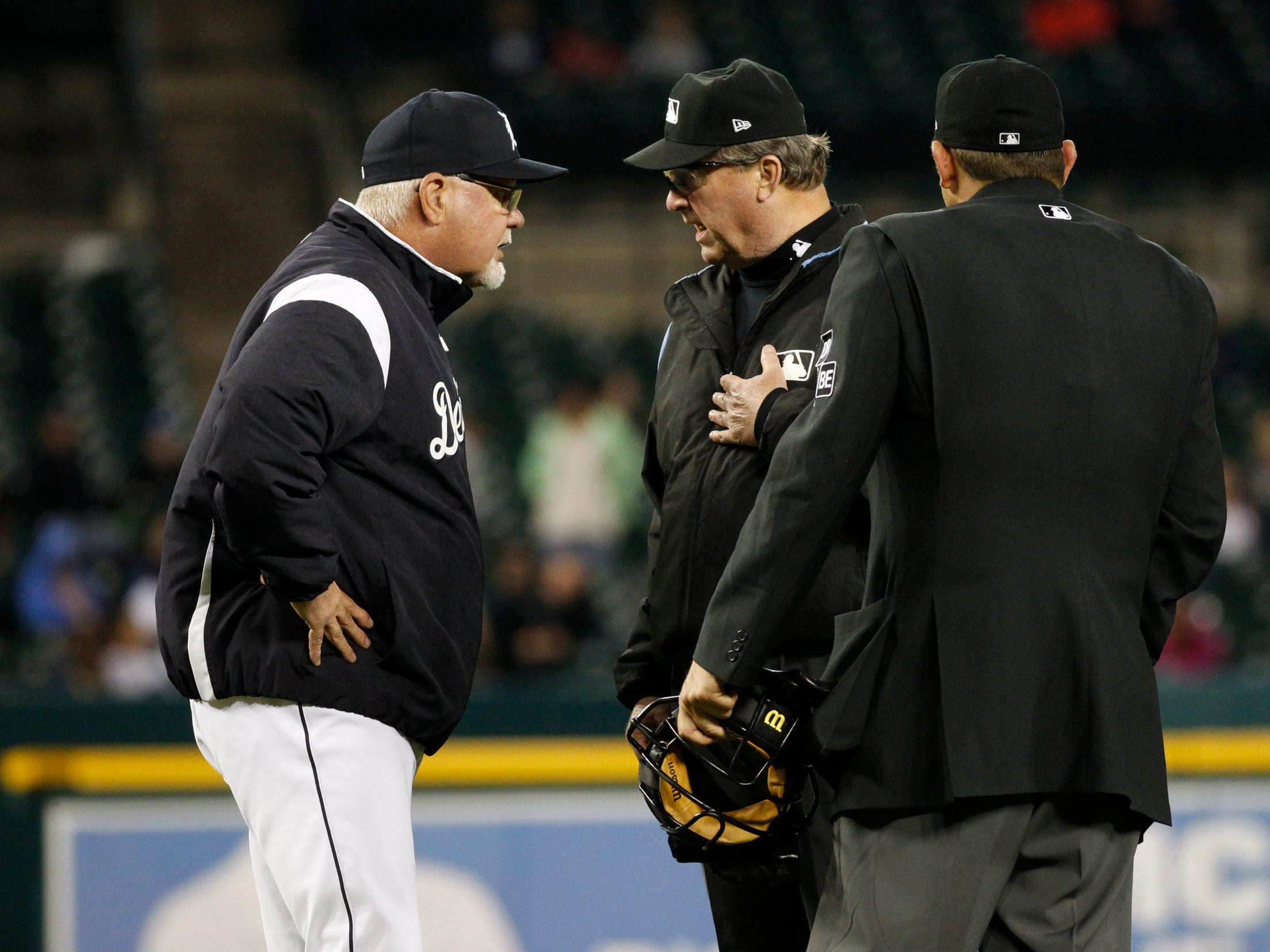 Tigers manager Ron Gardenhire argues an eighth inning call as the Detroit Tigers take on the Houston Astros on Monday, Sept. 10, 2018, at Comerica Park.