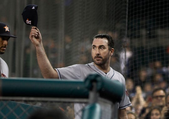 Astros pitcher Justin Verlander tips his cap as he finishes the pitching in the seventh inning as the Tigers take on the Astros on Monday, Sept. 10, 2018, at Comerica Park.