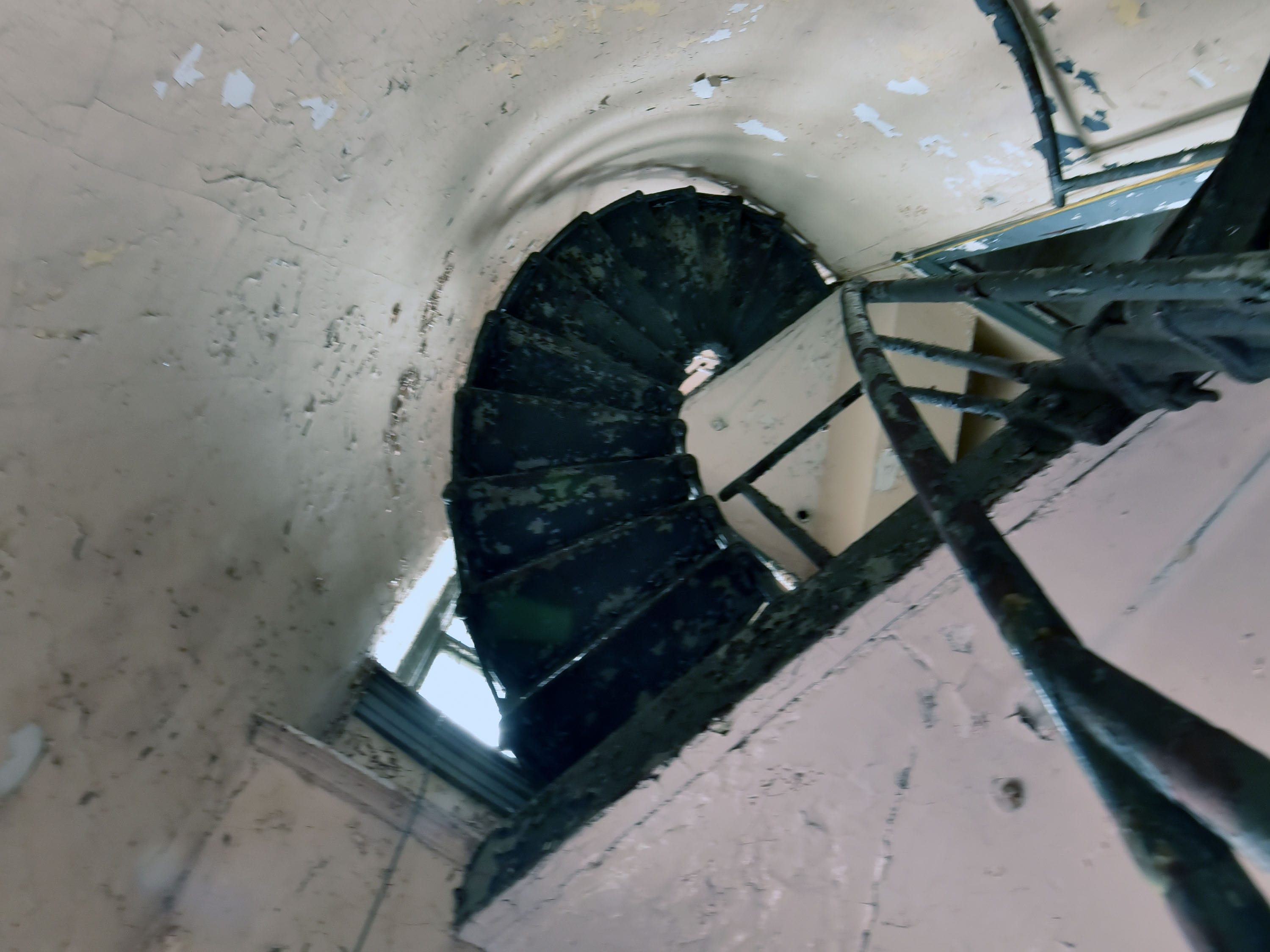 Steel stairways at the White Shoal Lighthouse rise through the center of the structure, passing through no rooms Sunday, Sept. 2, 2018.
