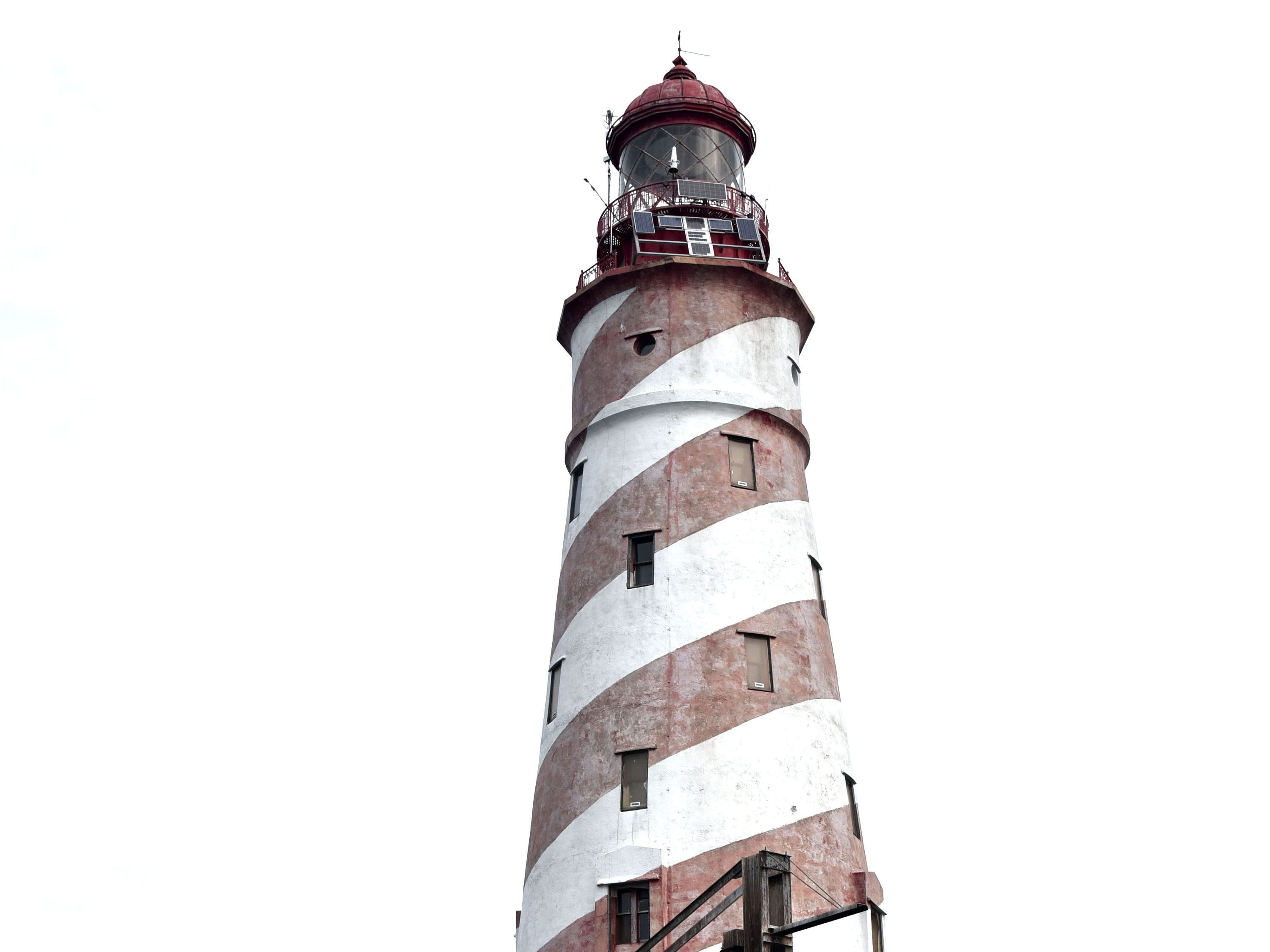 The White Shoal Lighthouse, completed and lighted in 1910, stands 121 feet tall, and is the only lighthouse in the United States to sport a 'barber pole' paint spiral, Sunday, Sept 2, 2018.