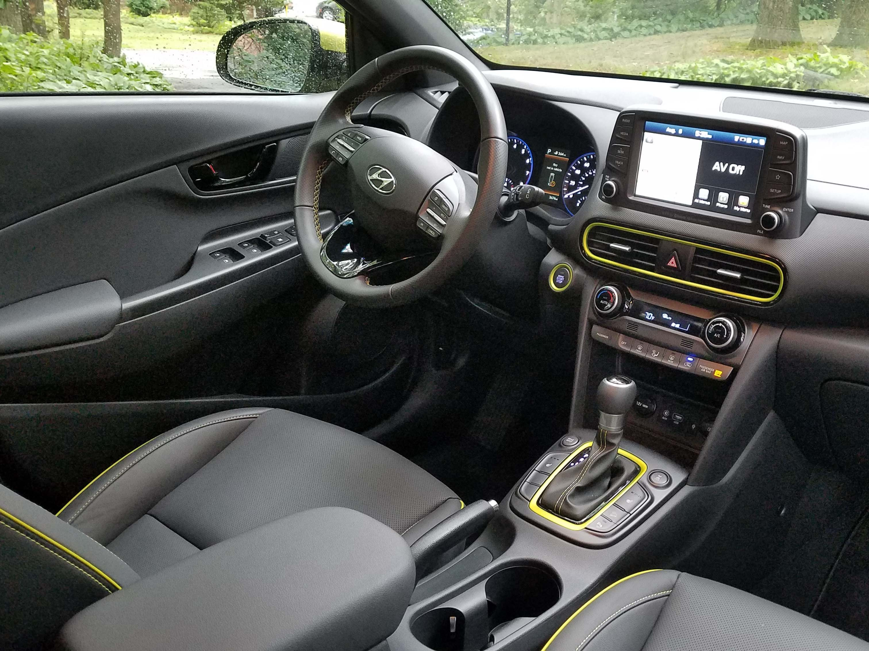 Funky outside, conventional inside. The 2018 Hyundai Kona sports a familiar Hyundai interior with tablet screen, intuitive control knobs, and nice materials.